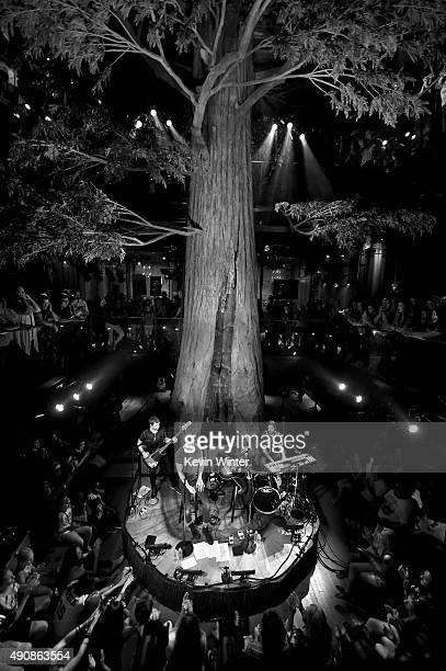Musicians Ben McKee Dan Reynolds Daniel Wayne Sermon and Daniel Platzman of Imagine Dragons perform onstage during iHeartRadio presents 'Imagine...