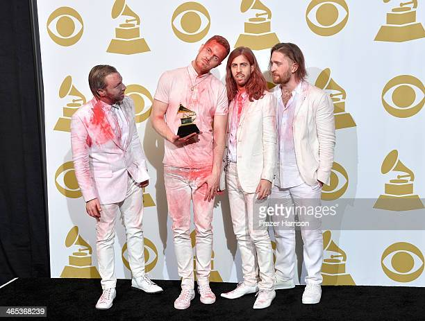 Musicians Ben McKee Dan Reynolds Wayne Sermon and Daniel Platzman of Imagine Dragons winners of the Best Rock Performance Award for 'Radioactive'...