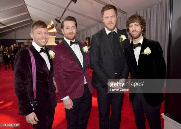 Musicians Ben McKee Daniel Platzman Dan Reynolds and Wayne Sermon of Imagine Dragons attend the 60th Annual GRAMMY Awards at Madison Square Garden on...