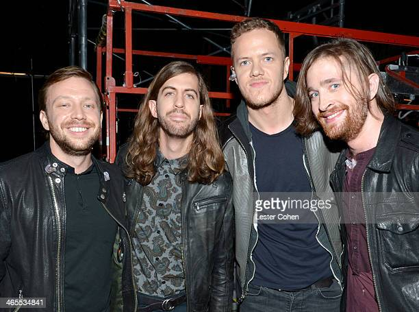 Musicians Ben McKee Wayne Sermon Dan Reynolds and Daniel Platzman of Imagine Dragons attend The Night That Changed America A GRAMMY Salute To The...