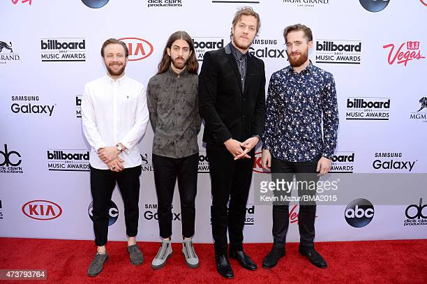 Musicians Ben McKee, Wayne Sermon, Dan Reynolds and Daniel Platzman of Imagine Dragons attend the 2015 Billboard Music Awards at MGM Grand Garden...