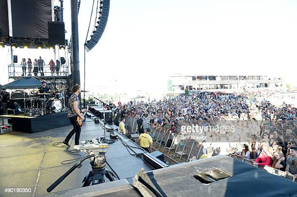 Musicians Ben Thatcher and Mike Kerr of Royal Blood perform onstage during day 2 of the 2015 Life is Beautiful festival on September 26 2015 in Las...