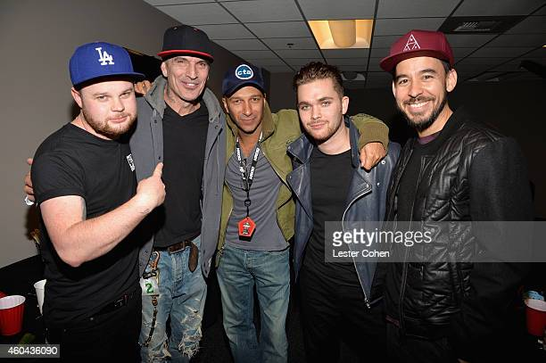 Musicians Ben Thatcher Tommy Lee Tom Morello Mike Kerr and Mike Shinoda attend day one of the 25th annual KROQ Almost Acoustic Christmas at The Forum...