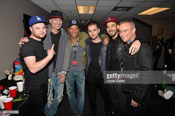 Musicians Ben Thatcher Tommy Lee Tom Morello Mike Kerr Mike Shinoda and KROQ's Kevin Weatherly attend day one of the 25th annual KROQ Almost Acoustic...