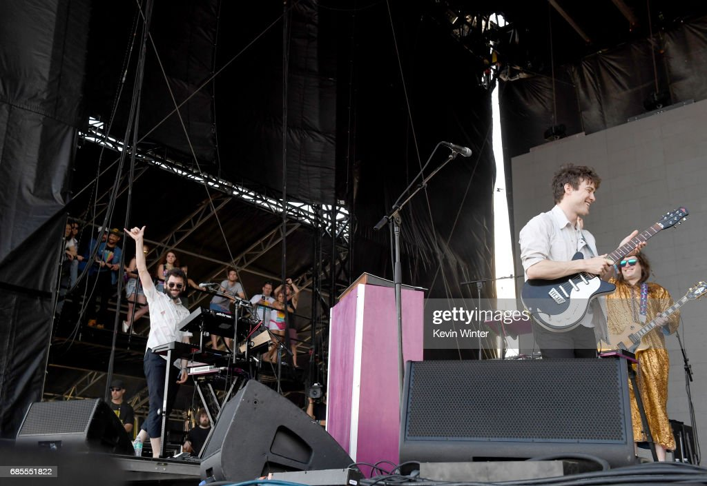 Musicians Benjamin Goldwasser and Andrew VanWyngarden of MGMT perform at the Hangout Stage during 2017 Hangout Music Festival on May 19, 2017 in Gulf Shores, Alabama.