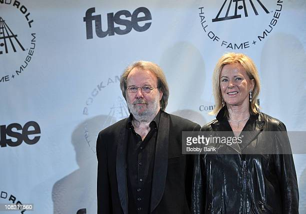 Musicians Benny Andersson and AnniFrid Prinsessan Reuss of ABBA attend the 25th Annual Rock and Roll Hall of Fame Induction Ceremony at The...