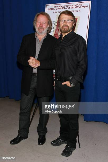 Musicians Benny Andersson and Bjsrn Ulvaeus attend a photo call for Kristina at The New 42nd Street Studios on September 16 2009 in New York City