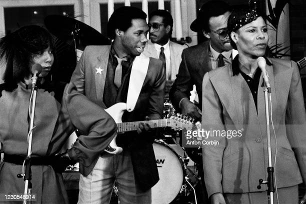 Musicians Bernard Edwards, Tony Thompson, Nile Rodgers, Luci Martin, Alfa Anderson from Chic poses for a portrait in The Hague, in 1979.