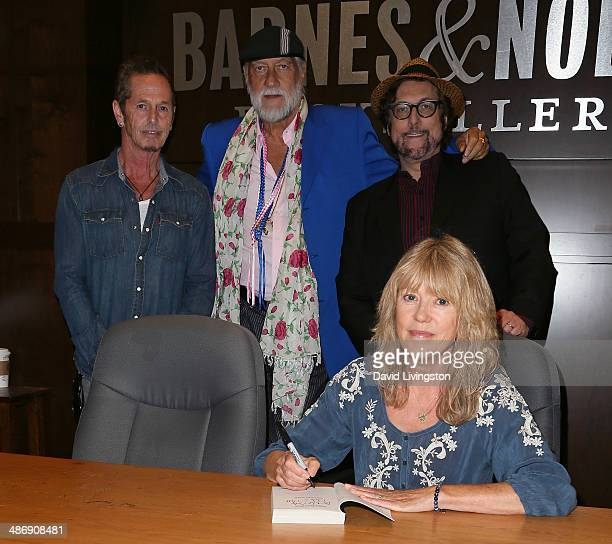 Musicians Bernie Larsen Mick Fleetwood and Stephen Bishop and writer Jenny Boyd attend a signing of Jenny Boyd's book It's Not Only Rock 'N' Roll at...