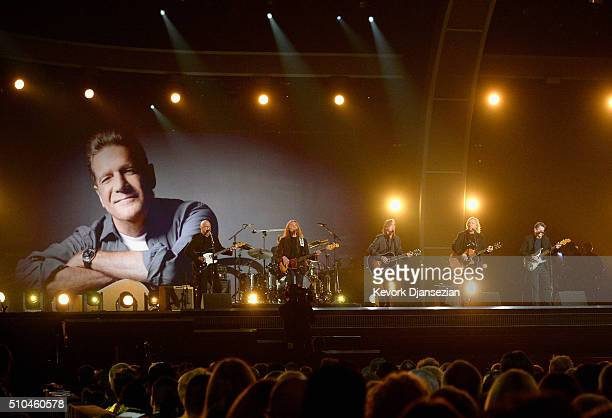 Musicians Bernie Leadon Timothy B Schmit Jackson Browne and Steuart Smith honoring Eagles founder Glenn Frey perform onstage during The 58th GRAMMY...