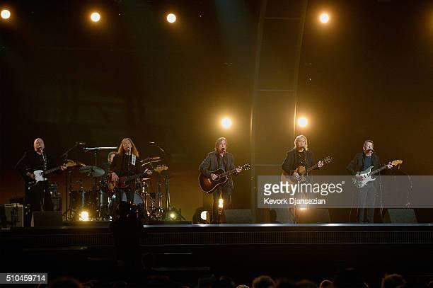Musicians Bernie Leadon, Timothy B. Schmit, Jackson Browne, Joe Walsh and Steuart Smith, honoring Eagles founder Glenn Frey, perform onstage during...