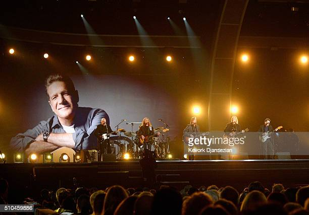 Musicians Bernie Leadon Timothy B Schmit Jackson Browne Joe Walsh and Steuart Smith honoring Eagles founder Glenn Frey perform onstage during The...