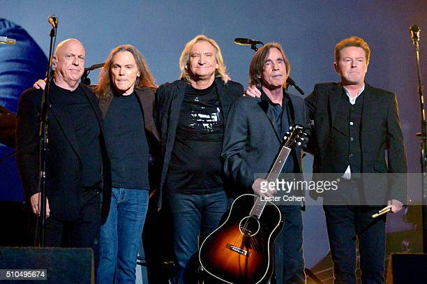 Musicians Bernie Leadon Timothy B Schmit Joe Walsh and Don Henley of The Eagles perform with Jackson Browne onstage during The 58th GRAMMY Awards at...