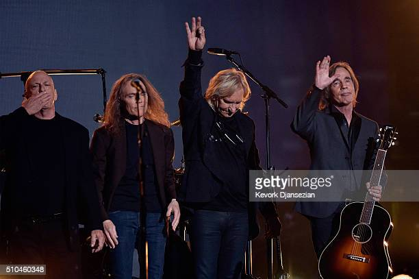 Musicians Bernie Leadon, Timothy B. Schmit, Joe Walsh and Jackson Browne, honoring Eagles founder Glenn Frey, appear onstage during The 58th GRAMMY...