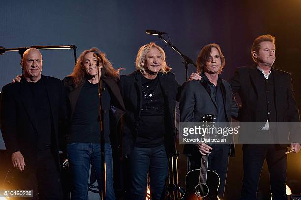 Musicians Bernie Leadon Timothy B Schmit Joe Walsh Jackson Browne and Don Henley honoring Eagles founder Glenn Frey appear onstage during The 58th...
