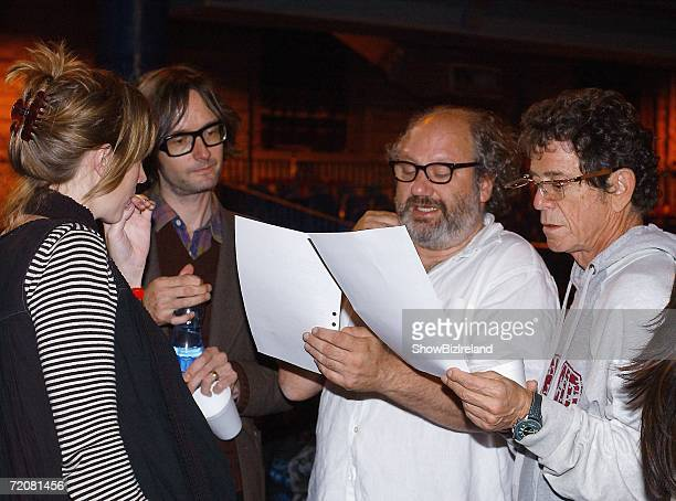 Musicians Beth Orton Jarvis Cocker Lou Reed and Hal Willner rehearse for the Dublin Theatre Festival presentation of 'Came So Far For Beauty An...