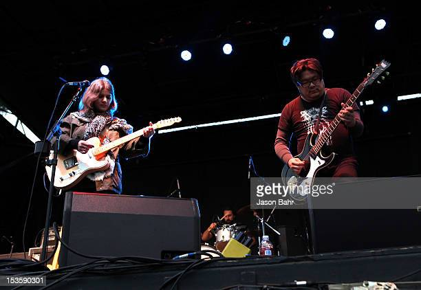 Musicians Bethany Cosentino and Bobb Bruno of Best Coast perform onstage at Chipotle presents Cultivate Denver a food music and ideas festival in the...