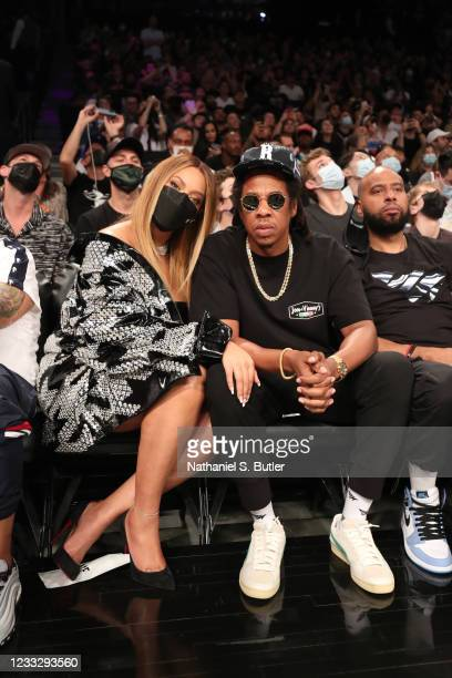 Musicians Beyonce and Jay-Z attend the Brooklyn Nets game against the Milwaukee Bucks during Round 2, Game 1 of the 2021 NBA Playoffs on June 5, 2021...