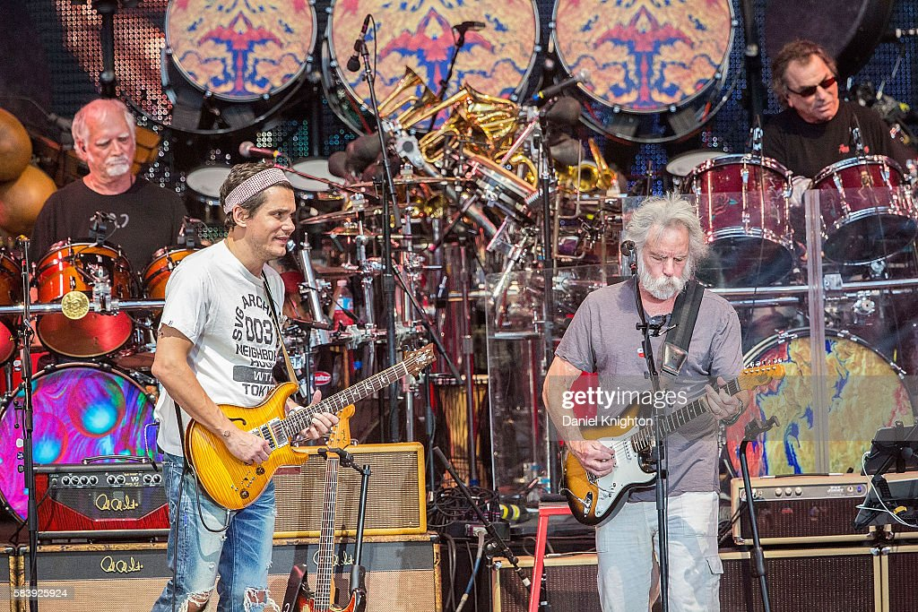 Musicians Bill Kreutzmann, John Mayer, Bob Weir and Mickey Hart of Dead & Company perform on stage at Sleep Train Amphitheatre on July 27, 2016 in Chula Vista, California.