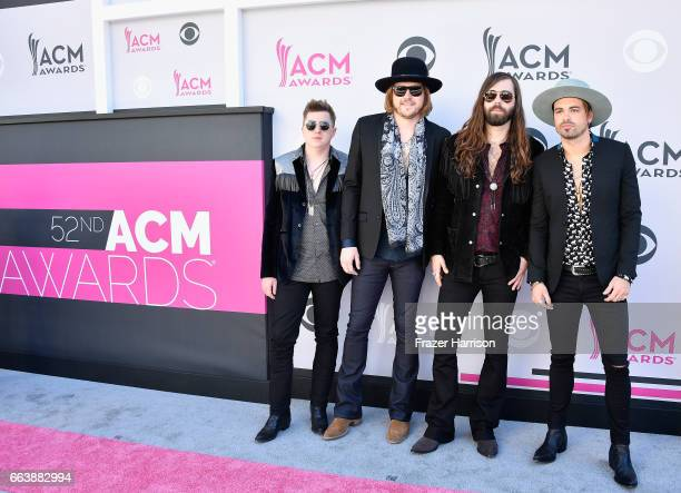 Musicians Bill Satcher Michael Hobby Graham DeLoach and Zach Brown of A Thousand Horses attend the 52nd Academy Of Country Music Awards at Toshiba...