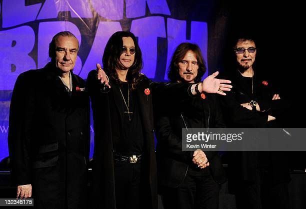 Musicians Bill Ward Ozzy Osbourne Geezer Butler and Tony Iommi of Black Sabbath appear at a press conference to announce their first new album in 33...