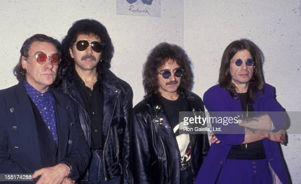 Musicians Bill Ward Toni Iommi Geezer Butler and Ozzy Osbourne of Black Sabbath attend Black Sabbath RockWalk of Fame Party on November 18 1992 at...