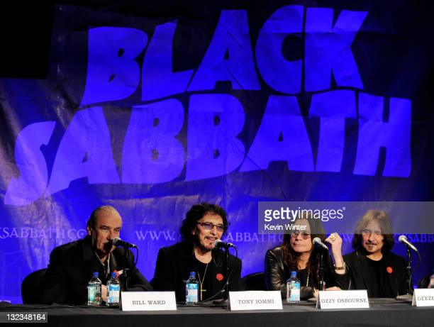 Musicians Bill Ward Tony Iommi Ozzy Osbourne and Geezer Butler of Black Sabbath appear at a press conference to announce their first new album in 33...