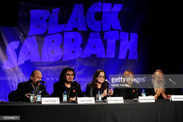 Musicians Bill Ward Tony Iommi Ozzy Osbourne and Geezer Butler of Black Sabbath and producer Rick Rubin appear at a press conference to announce...