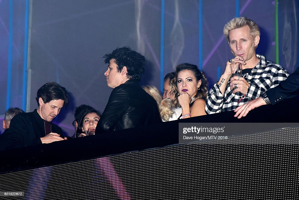 Musicians Billie Joe Armstrong and Mike Dirnt of Green Day attend the after party for the MTV Europe Music Awards 2016 on November 6, 2016 in Rotterdam, Netherlands.