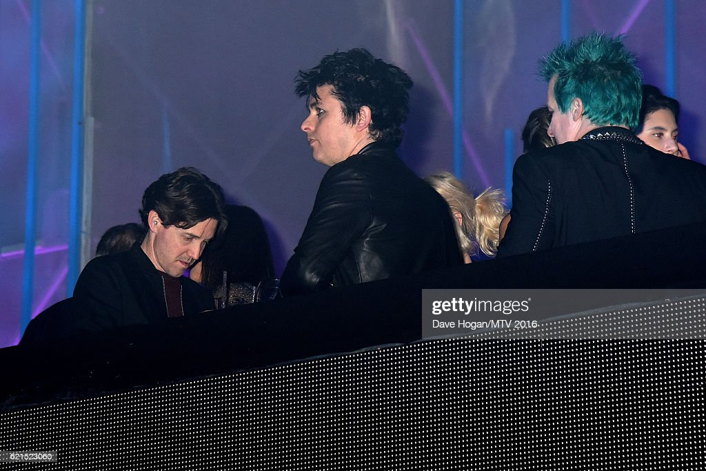 Musicians Billie Joe Armstrong and Tre Cool of Green Day attend the after party for the MTV Europe Music Awards 2016 on November 6, 2016 in Rotterdam, Netherlands.