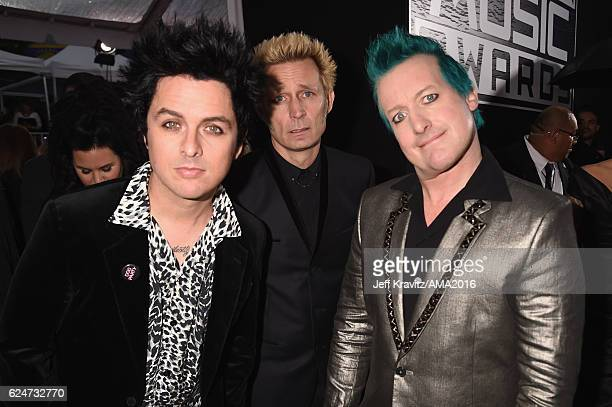 Musicians Billie Joe Armstrong, Mike Dirnt and Tre Cool of Green Day attend the 2016 American Music Awards at Microsoft Theater on November 20, 2016...