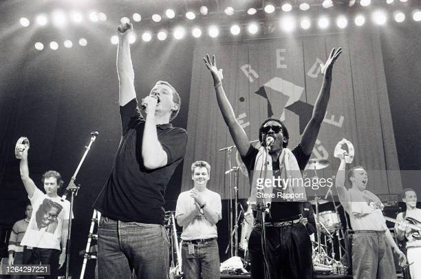 Musicians Billy Bragg and Junior Giscombe, along with others, perform during the Red Wedge Tour, De Montfort Hall, Leicester, 1/28/1986. During the...