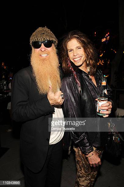 Musicians Billy Gibbons and Steven Tyler attend Slash's birthday cocktail party at RHUMBAR at The Mirage Hotel and Casino on July 24 2009 in Las...