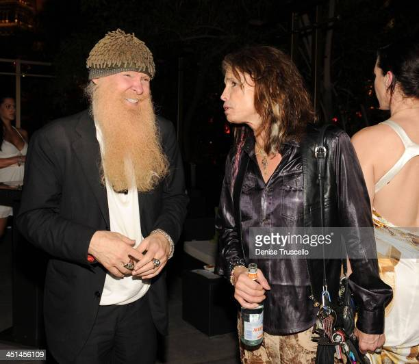 Musicians Billy Gibbons and Steven Tyler attend Slash's birthday cocktail party at RHUMBAR at The Mirage Hotel and Casino on July 24, 2009 in Las...