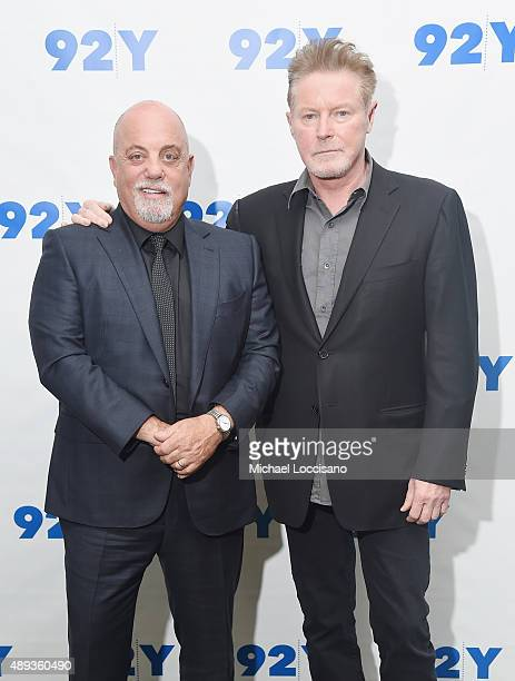 Musicians Billy Joel and Don Henley attend Don Henley in Conversation with Billy Joel at 92Y on September 20, 2015 in New York City.