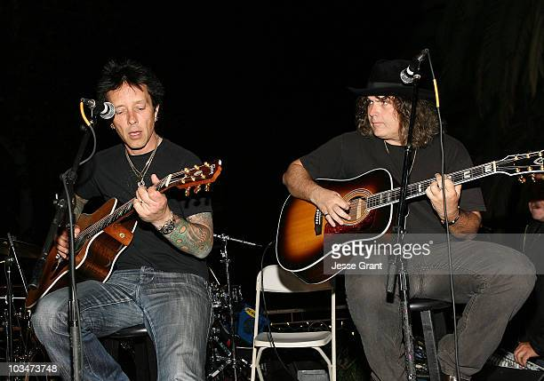 Musicians Billy Morrison and Lanny Cordola perform at a Wonderland Avenue School fund raising event at a private residence on October 10, 2009 in Los...