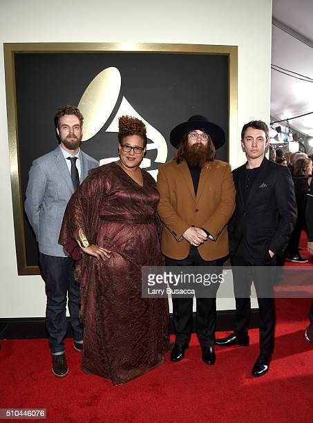 Musicians Blake Mills Brittany Howard Zac Cockrell and Heath Fogg of Alabama Shakes attends The 58th GRAMMY Awards at Staples Center on February 15...
