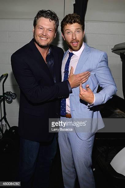 Musicians Blake Shelton and Brett Eldredge attend the 2014 CMT Music awards at the Bridgestone Arena on June 4 2014 in Nashville Tennessee