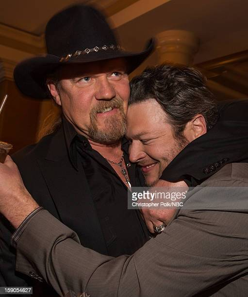 Musicians Blake Shelton and Trace Adkins at the NBCUniversal 2013 TCA Winter Press Tour Party held at The Langham Huntington Hotel and Spa on January...