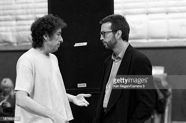 Musicians Bob Dylan and Eric Clapton are photographed behind the scenes of Bob Dylan's 30th Anniversay Concert on October 16 1992 in New York City...