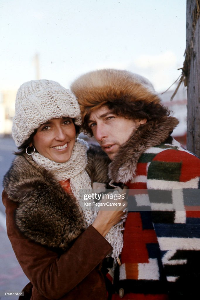 Musicians Bob Dylan and Joan Baez are photographed during the Rolling Thunder Revue in December 1975 in Bangor, Maine.