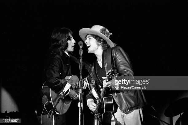 Musicians Bob Dylan and Joan Baez are photographed during the Rolling Thunder Revue in 1975 CREDIT MUST READ Ken Regan/Camera 5 via Contour by Getty...