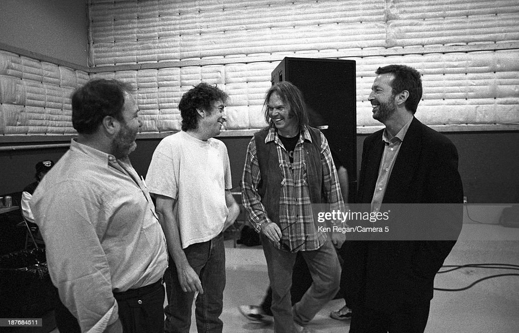 Musicians Bob Dylan, Neil Young and Eric Clapton are photographed behind the scenes of Bob Dylan's 30th Anniversay Concert on October 16, 1992 in New York City.