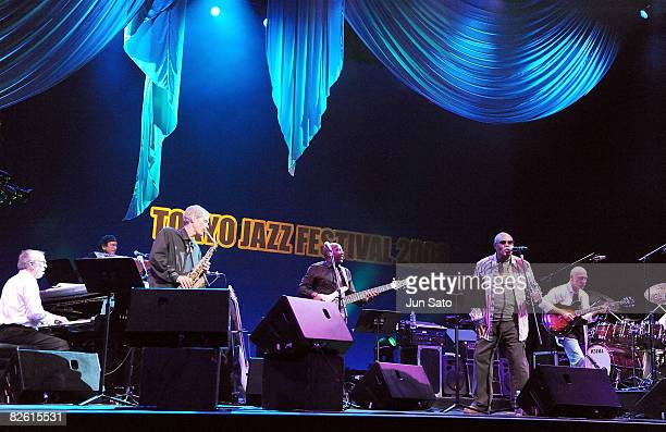 Musicians Bob James David Sanborn Nathan East Sam Moore and Larry Carlton Harvey perform during Tokyo Jazz 2008 at Tokyo International Forum on...