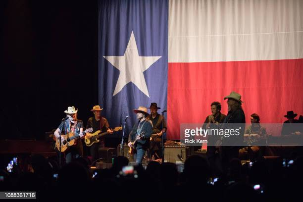 Musicians Bobbie Nelson Willie Nelson Lukas Nelson and Mickey Raphael perform in concert at ACL Live on December 30 2018 in Austin Texas