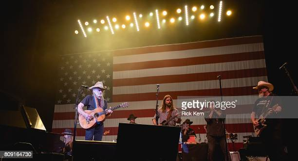 Musicians Bobbie Nelson Willie Nelson Paul English Lukas Nelson Mickey Raphael and Ray Benson perform onstage during the 44th Annual Willie Nelson...