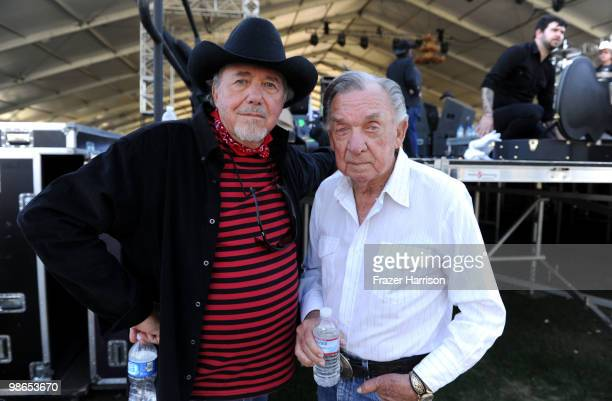 Musicians Bobby Bare and Ray Price pose backstage during day 1 of Stagecoach California's Country Music Festival 2010 held at The Empire Polo Club on...