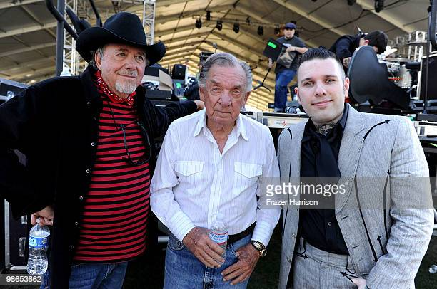 Musicians Bobby Bare Ray Price and Nick 13 pose backstage during day 1 of Stagecoach California's Country Music Festival 2010 held at The Empire Polo...