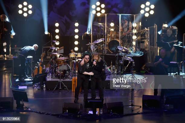 Musicians Bobby Kimball and Leslie Mandoki perform onstage during the ManDoki Soulmates 'Wings Of Freedom' concert at The Beacon Theatre on January...