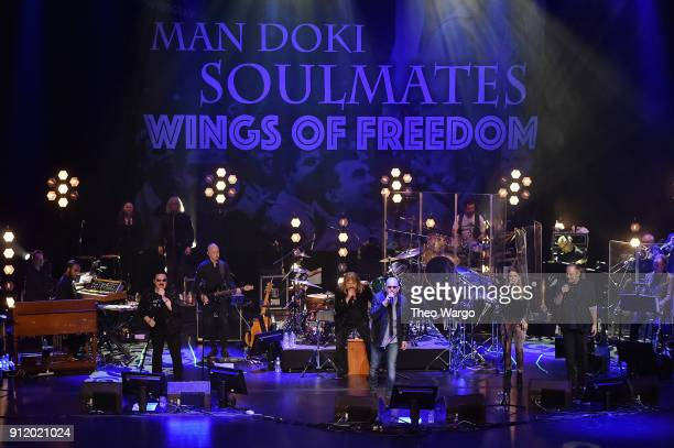 Musicians Bobby Kimball Leslie Mandoki Chris Thompson Julia Mandoki Nick Van Eede perform onstage during the ManDoki Soulmates Wings Of Freedom...